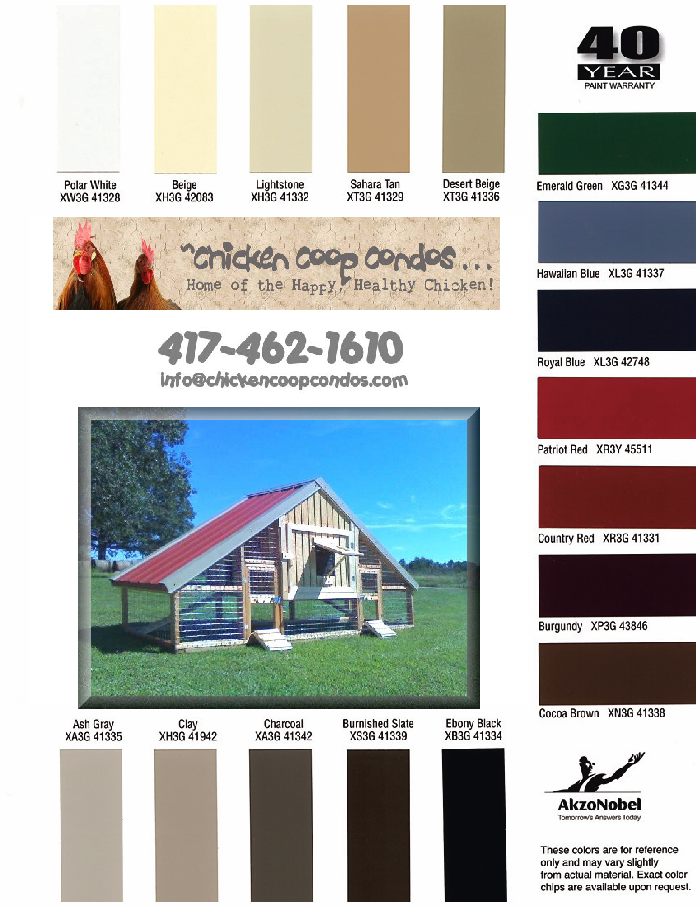 Chicken Coop Condos Color Chart
